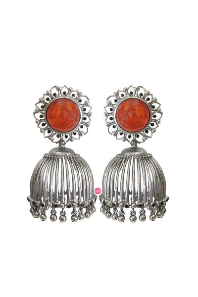 Red carnelian jhumki - BY ELORA