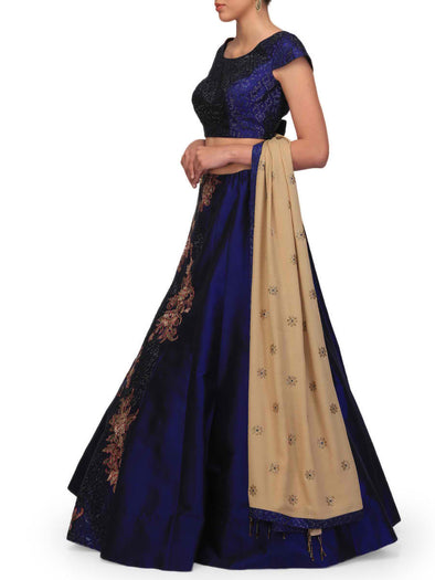 Navy and Peach Lehenga Set