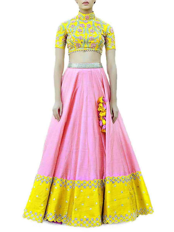 Divya Reddy Pink and Yellow Lehenga Set