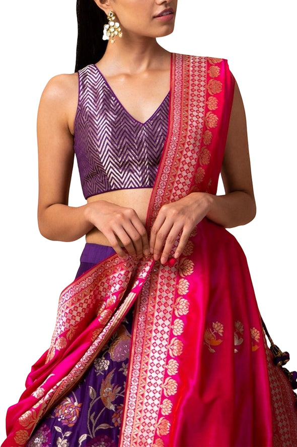 Handwoven Purple Silk Lehenga - BY ELORA