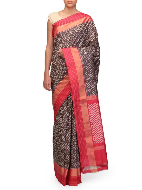 Ekaya Handwoven Brown Ikat Saree