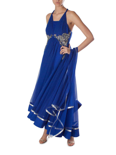 Gaurav Gupta blue anarkali