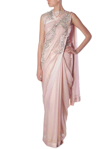 Gaurav Gupta lace rose gold saree