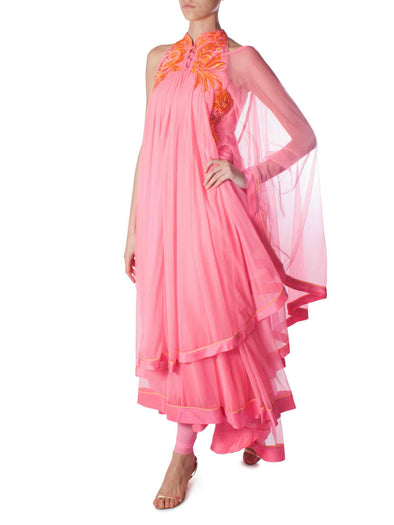 Gaurav Gupta pink fringed dress