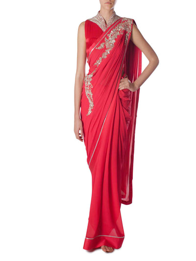 Gaurav Gupta red saree with collar - BY ELORA