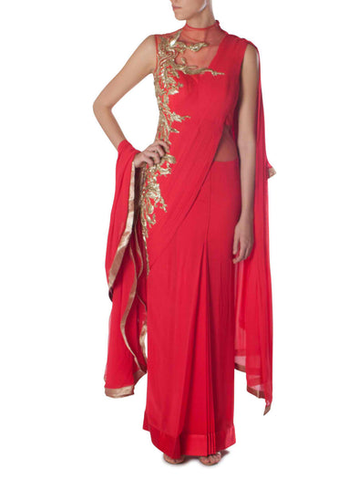 Gaurav Gupta red saree gown