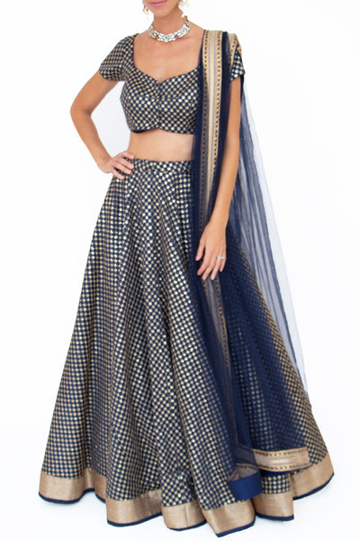 Navy Sequins embroidered Lehenga - BY ELORA