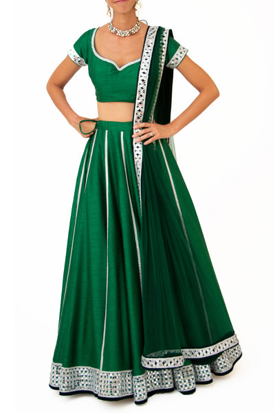 Emerald green lehenga set with silver mirrorwork - BY ELORA