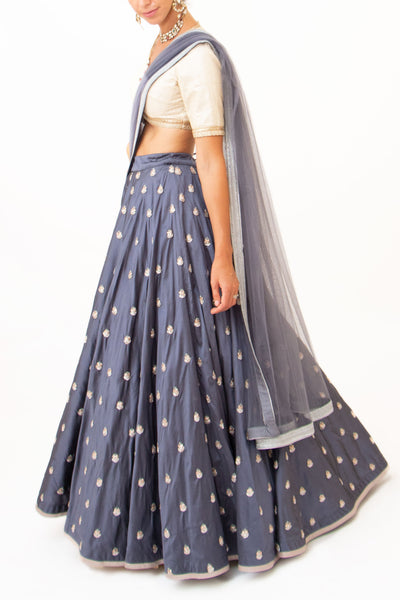 Hammered petrol blue lehenga - BY ELORA