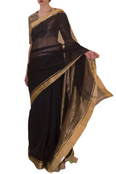 Raw Mango black saree - BY ELORA