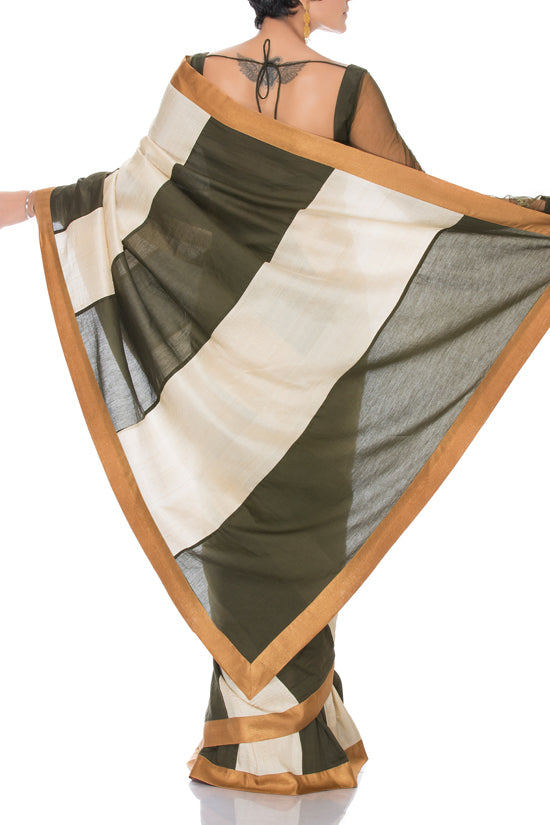 Mandira Bedi Olive and Cream Stripe Saree - BY ELORA