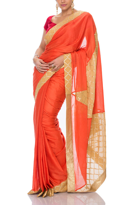 Mandira Bedi orange and beige saree - BY ELORA