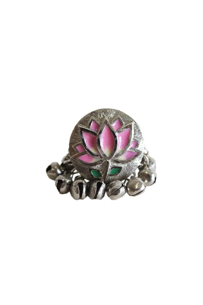 Pink lotus silver ring - BY ELORA
