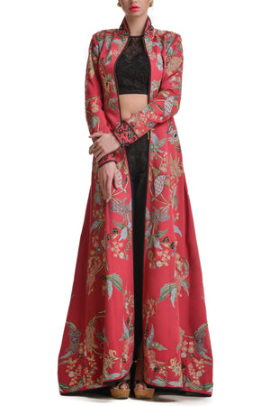 Mansi Malhotra red jacket with black cigarette pants - BY ELORA