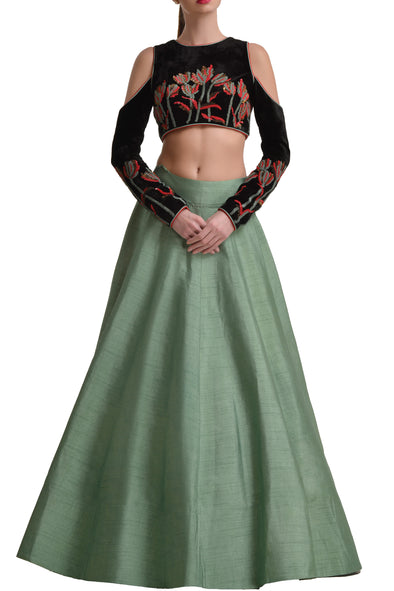 Mansi Malhotra sage green lehenga with cold shoulder blouse - BY ELORA