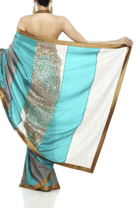 Mandira Bedi Grey and Sea Green Saree - BY ELORA