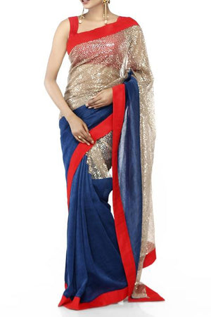 Mandira Bedi Blue and Grey Sequinned Saree - BY ELORA