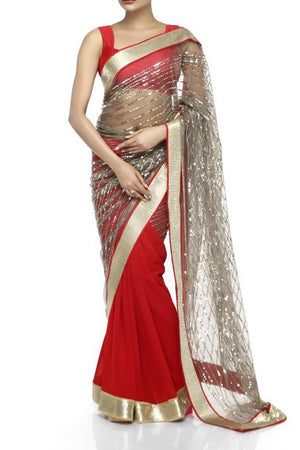 Mandira Bedi Red and Grey Sequinned Saree - BY ELORA