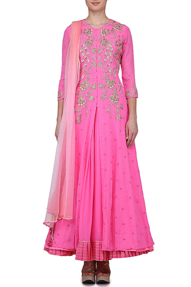Charkhi gota suit with lehenga and Dupatta