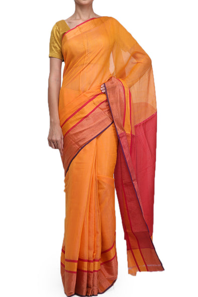 Raw Mango Turquoise orange cotton saree