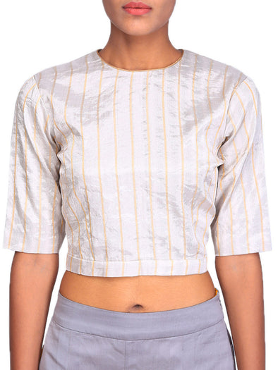 Raw Mango striped silver blouse