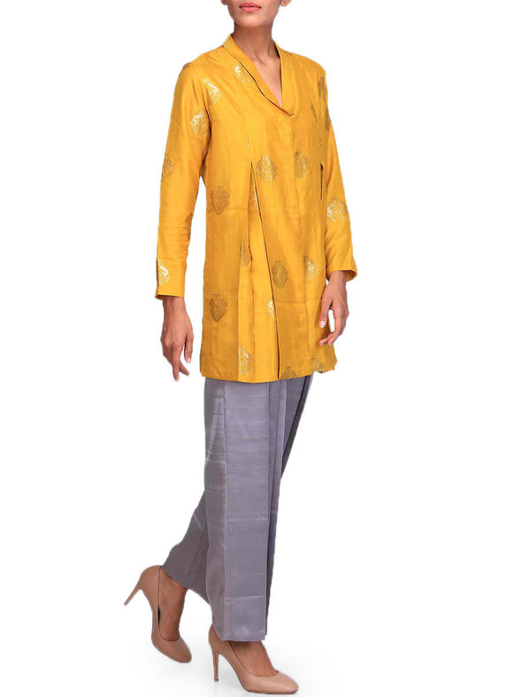 Raw Mango Mustard silk tunic with motifs