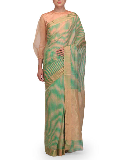 Raw Mango Green and Peach Check Chanderi Saree