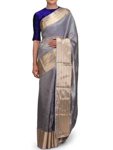 Raw Mango Grey Silver toned Chanderi Silk Saree