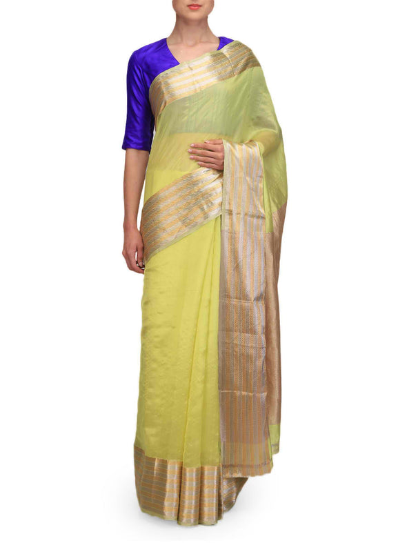 Raw Mango Lime Green Chanderi Sarees
