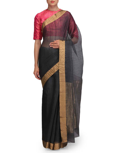 Raw Mango Slate Grey Chanderi Saree