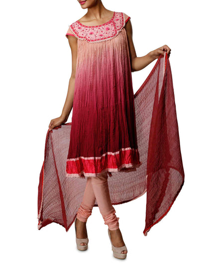 Red and pink gradient indian suit - BY ELORA