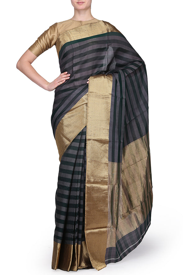 Raw Mango grey and green silk saree
