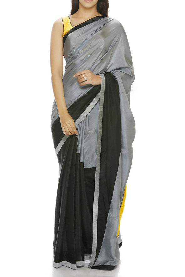 Mandira Bedi Grey and Black Saree - BY ELORA