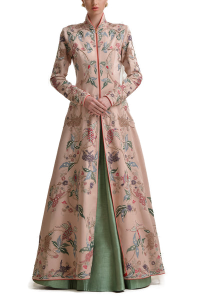 Mansi Malhotra blush pink jacket with  sage green lehenga