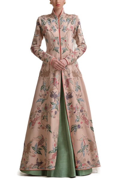 Mansi Malhotra blush pink jacket with  sage green lehenga - BY ELORA
