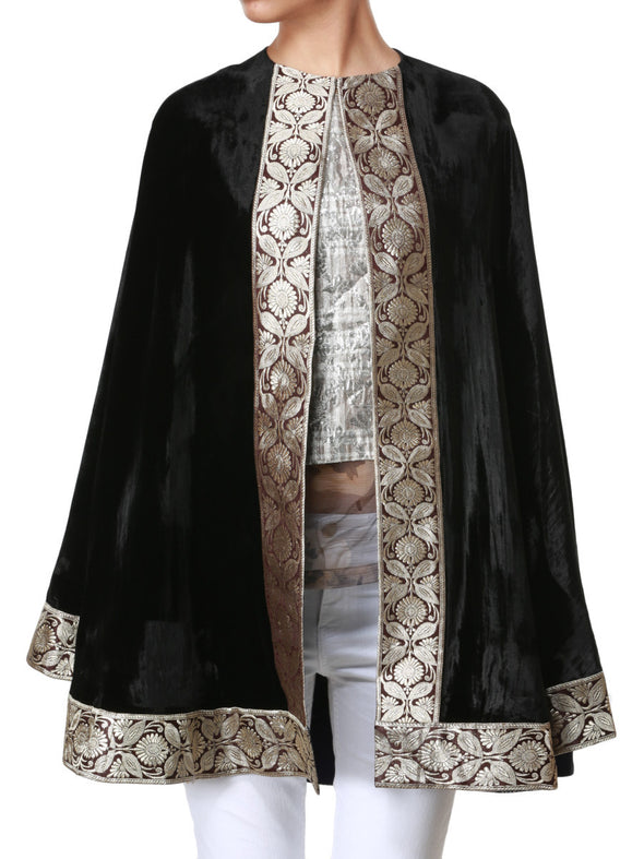 Black cape with silver border - BY ELORA