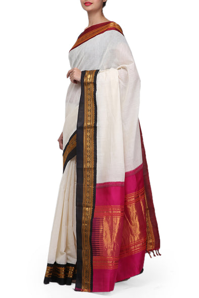 Raw Mango white kasavu saree cotton saree
