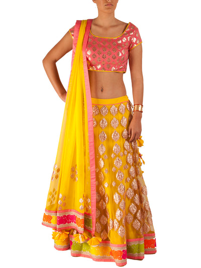 Amrita Thakur Bicolour Pink and Yellow Lehenga - BY ELORA