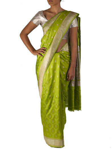 Parrot green benaras silk saree