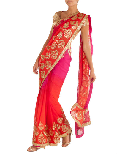 Amrita Thakur Shaded pink and orange chiffon saree