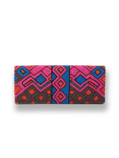 Blue and Pink Beaded Foldover Clutch