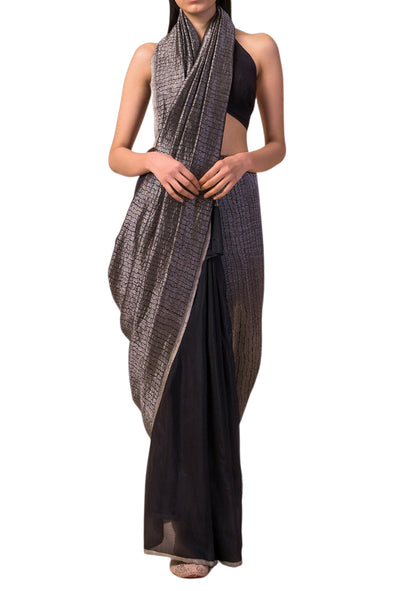 Ekaya black georgette saree with zari - BY ELORA