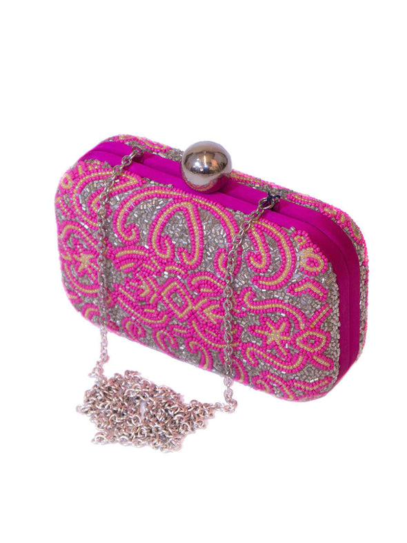 Pink embroidered bag - BY ELORA