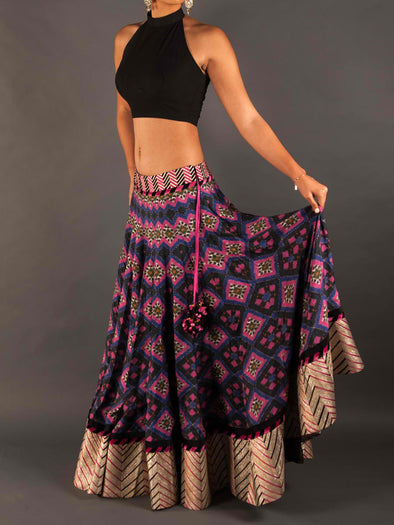 Indore Long Ikat print skirt
