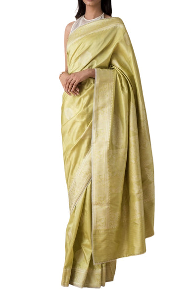 Ekaya Green Silk Mehfooz Saree - BY ELORA