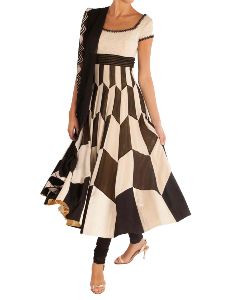 Checkered sakhi anarkali - BY ELORA
