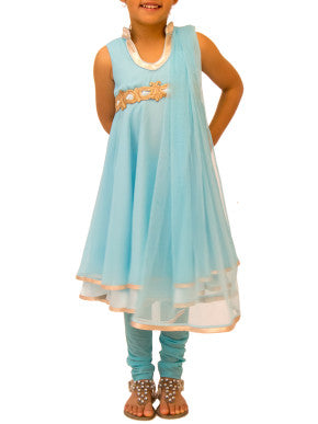 Light sky blue girls anarkali with leggings - BY ELORA