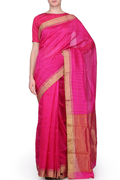 Raw Mango Pink on pink stripe saree