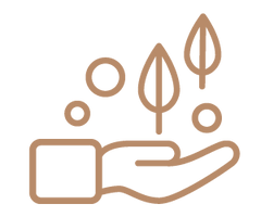 Icon of hand holding on leaves
