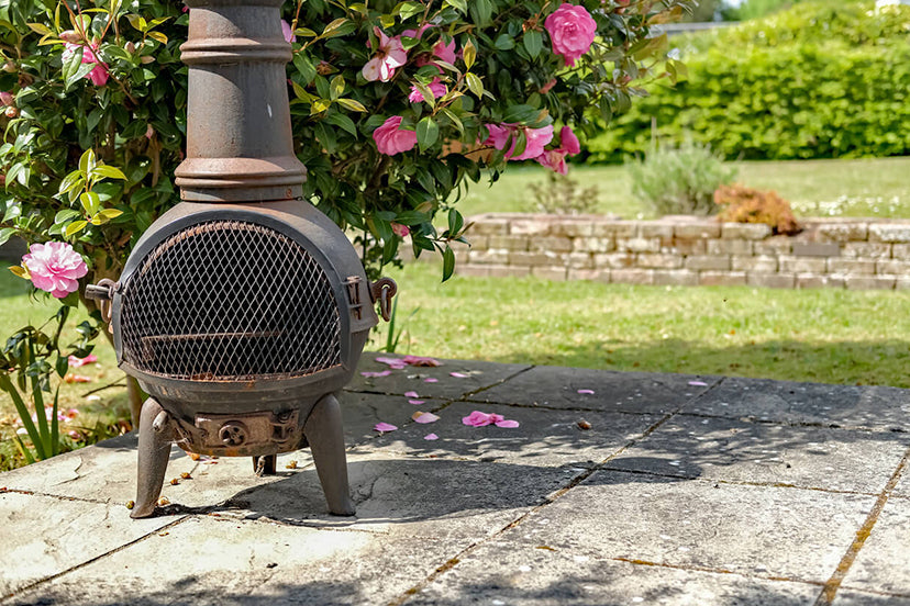 Close Up Of Cast Iron Chiminea In A Garden